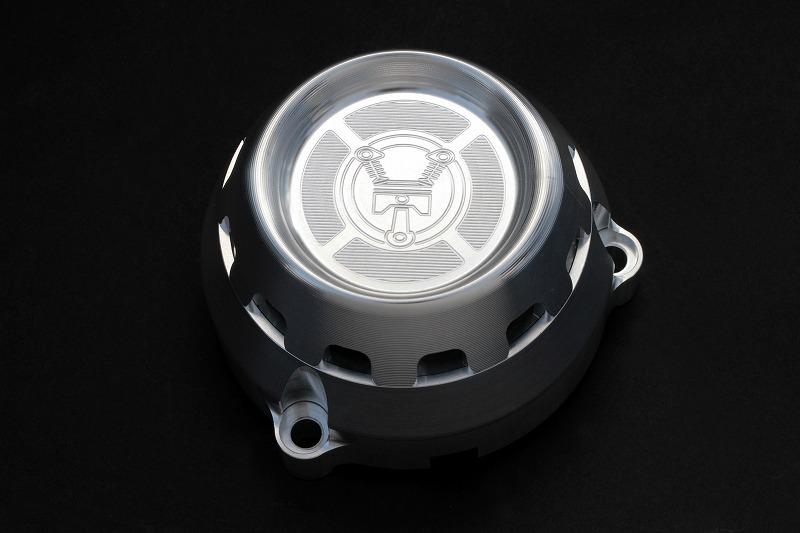 カワサキGPZ系エンジン用ジェネレーターカバー (バフ、シルバーアルマイト)
